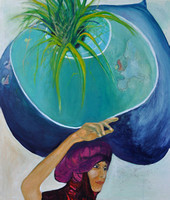 She Carries the World on Her Head 2014 70cmx80cm Oil:Acrylic:Canvas