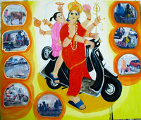 Durga (India on the Rise) 2011 Oil and Collage on Canvas 110cmx130cm