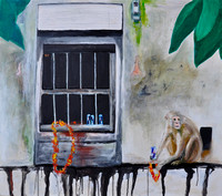 A Monkeys View on Globalisation 70cmx80cm Oil:Acrylic on Canvas 2014