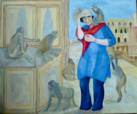 Monkey Temple and Me 2011 Oil on Canvas 110cmx90cm