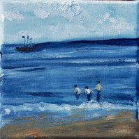 Scarborough Beach 16cmx16cm oil/canvas