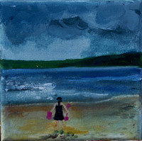 Scarborough Beach 14cmx14cm oil/canvas